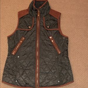 Vince Camuto Quilted Suede Equestrian Vest
